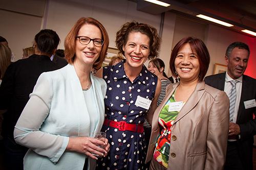 Prime Minister Julia Gillard with Dr Amanda Third and Professor Ien Ang.