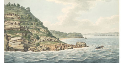 Joseph Lycett, 1775-1828, Aborigines with spears attacking Europeans in a rowing boat