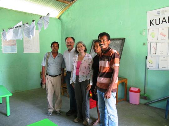 Bob Hodge, Gabriela Coronado standing with there Timorese delegates