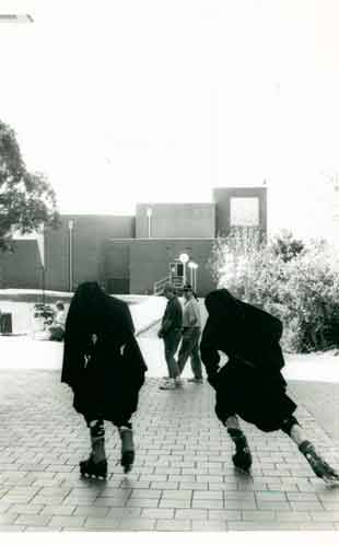 Nuns on skates - Making of a Red Rooster Commercial - Kingswood Campus, 1994 (Ref: P3094)