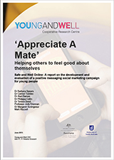 The cover of the 'Appreciate A Mate' report which has a watermarked background of hands holding a mobile which an 'Appreciate A Mate' positive message on it.