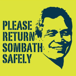 A yellow background with a blue image of the face of Sombath Somphone and the words 'please return Sombath safely'.