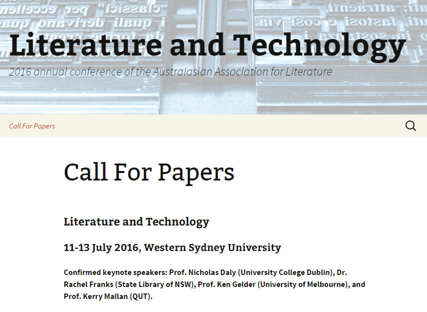 Literature and Technology CFP
