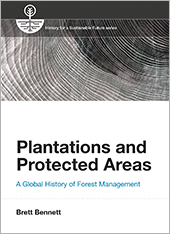 The cover of Plantations and Protected Areas – black and white with a wood grain pattern.