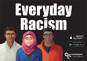 three people of diverse backgrounds in front of the Everyday Racism text