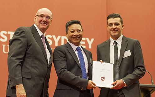 Professor Barney Glover, Vice-Chancellor and Professor Yi-Chen Lan with scholarship recipient, Damon Koulouris, Scholarships Award Ceremony 2017