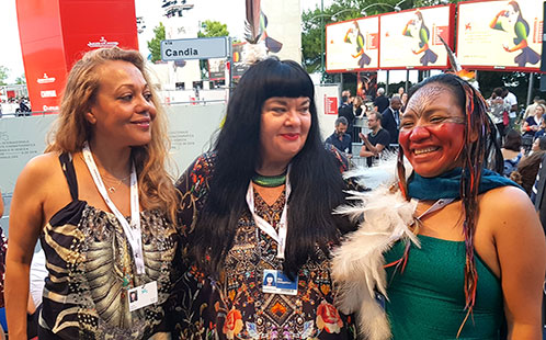 Dr Anya Salih, Lynette Wallworth and Hushuhu at the Venice Film Festival