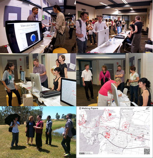 Six photos showing the tranport mapping stand, researchers in the field and a walking route map.