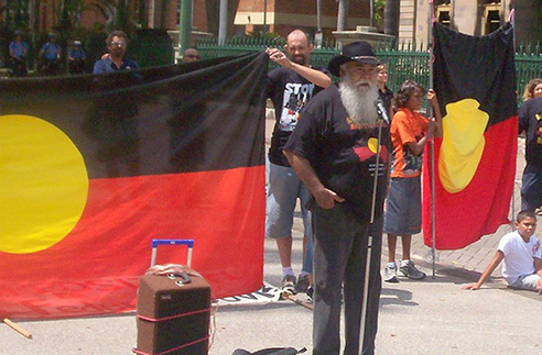 Bobby Weatherall - Invasion Day Rally and March, Parliament House, Brisbane (c) David Jackmanson