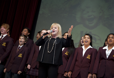 Patricia Amphlett with choir