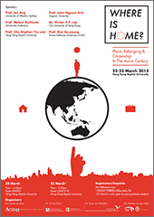 An image of the Where is Home flyer. The illustration shows a man on top of Earth. On the other sides are a suitcase and a house. Underneath is a hand pointing upwards.