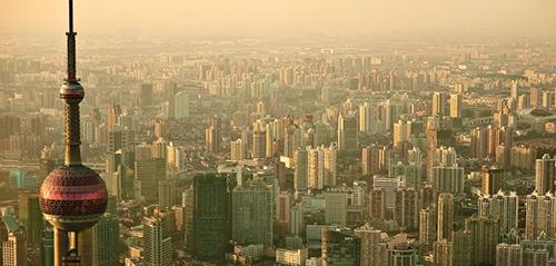 An aerial photo of Shanghai.