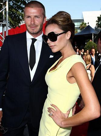 David and Victoria Beckham at an event
