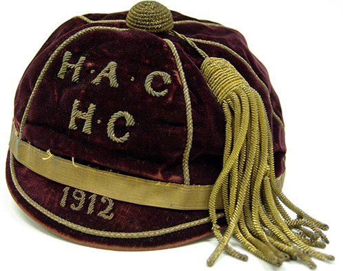 Sports Honour Cap - Hockey - 1912 [Hawkesbury Agricultural College (HAC)] This Hockey honour cap belonged to George McGillivray, a student at Hawkesbury Agricultural College (HAC) during the period 1910-1913. McGillivray graduated with the Hawkesbury Diploma of Agriculture (HDA) and Hawkesbury Diploma in Dairy (HDD). He was also Dux. (AM-316)