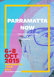 The cover of the Parramatta Now program which shows half of the face of a man taken from a mural in Parramatta - it has a sketched look and is pink blue. A yellow box surrounds the text details.