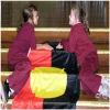 School children with an aboriginal flag