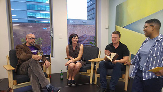 Writers at a studio stories event
