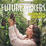 A section of the Future-Makers 4 cover showing a woman measuring eggplant in a greenhouse
