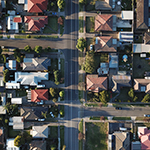 Aerial view of Australian housing