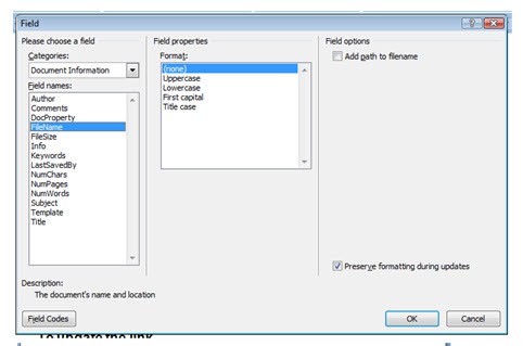 Inserting a Field into a Header or Footer in Word | Western Sydney