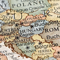 A map showing Austria and Hungary.