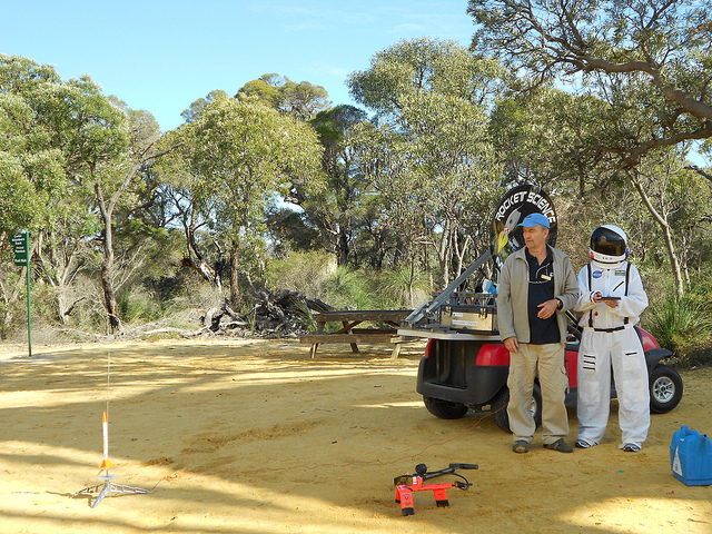 HDR student Jen Li in an astranaut costume in the desert