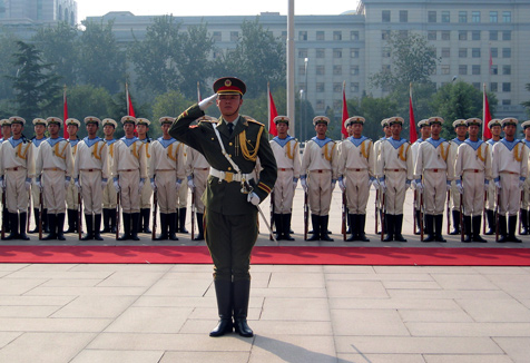 Chinese troops stand in formation