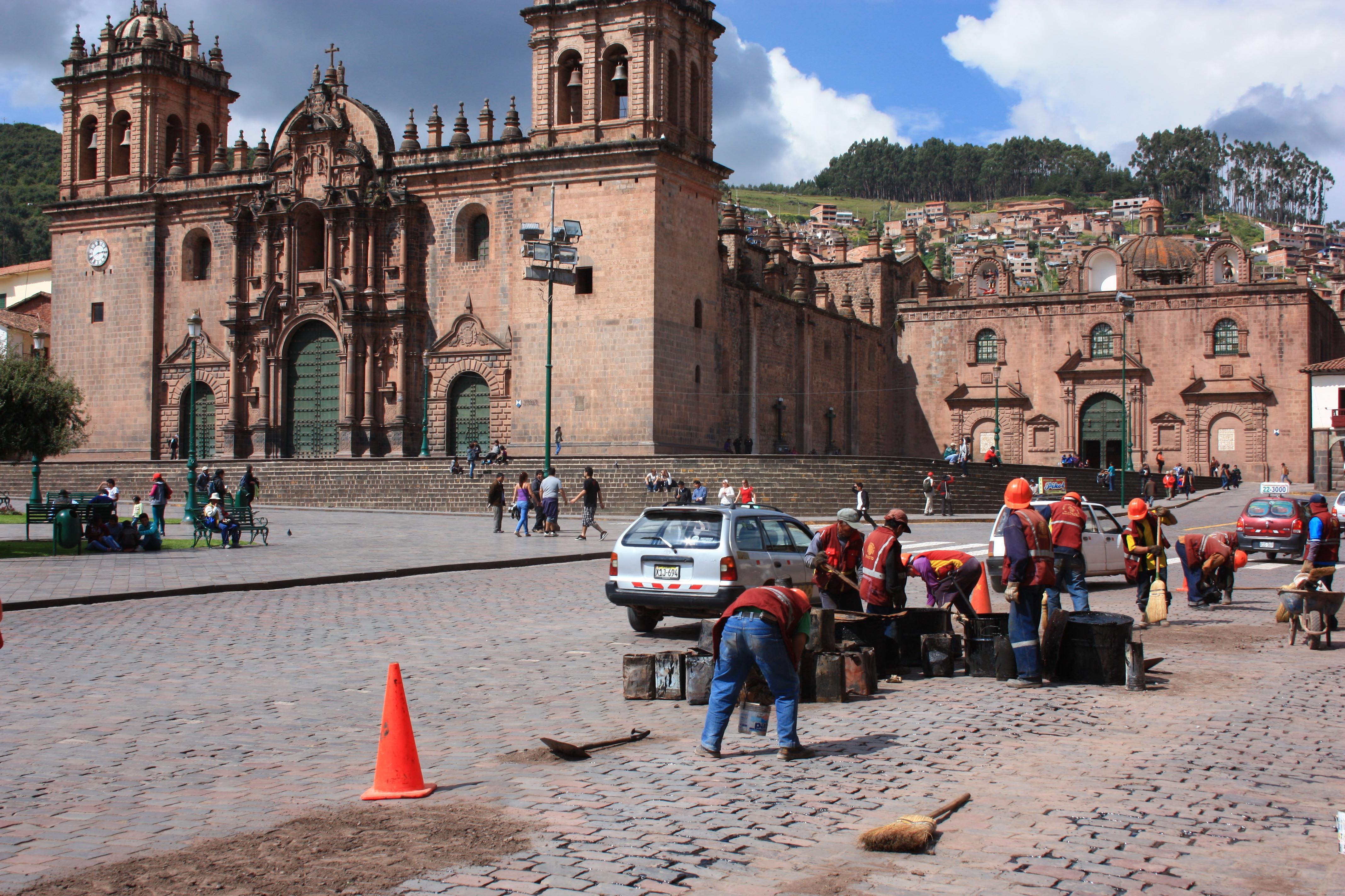 Road repairs in Cusco Peru, construction workers