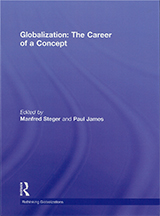 The cover of Globalization: The Career of a Concept which is an abstract blue swirl pattern with white writing.