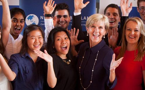 Julie Bishop with students