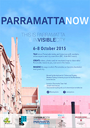 Thumbnail image of the Parramatta Now poster which has a blue sky background above the tops of two Parramatta buildings.