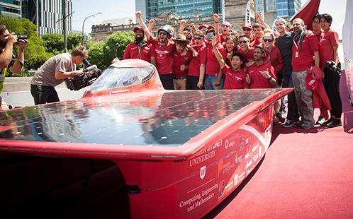 Solar Car team 2015 celebrate