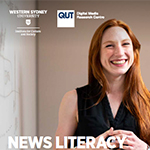 A section of the News Literacy and Australian Teachers report cover featuring a smiling woman