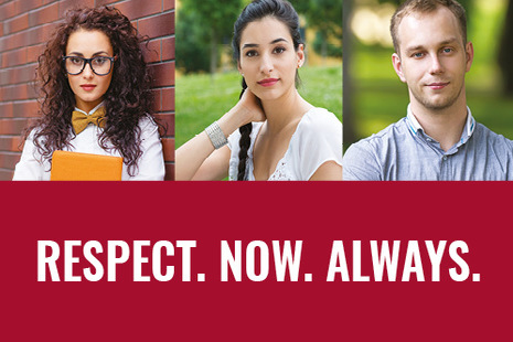A woman with curly hair and glasses, a woman with plaited hair and a blonde man with 'Respect. Now. Always' written at the bottom