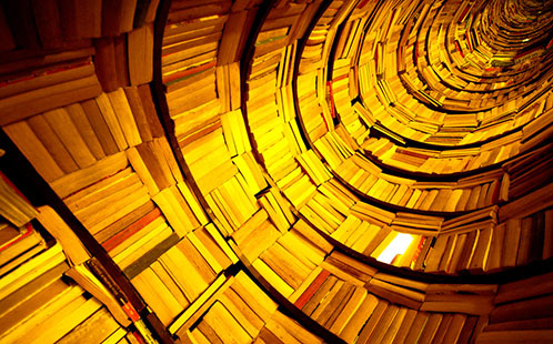 Spiral display of books