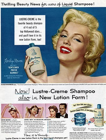 Marilyn Monroe in an advertisement for Lustre Creme shampoo.