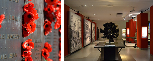 Two images: one of red poppies on an ANZAC memorial (list of names), and the other of a room with pictures on the wall and displays.