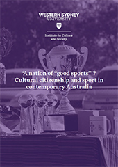 """A small image of the 'A nation of :good sports""""' flyer which has a purple tint over a photo of a trophy sitting on a table."""