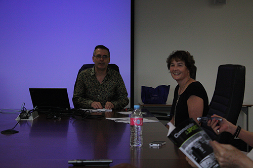 Professor David Rowe and Toni Bruce at the launch of Communication and Sport.