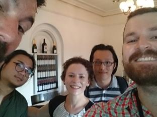 Team of five, including Cecilia Hilder, selfie.