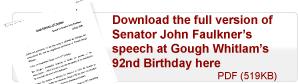 Senator John Faulkner speech