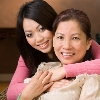 Portrait of a Vietnamese family of mother and daughter
