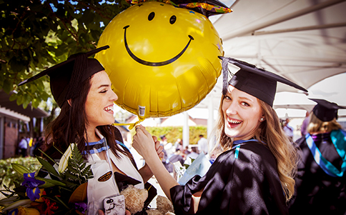 Students enjoying graduation day