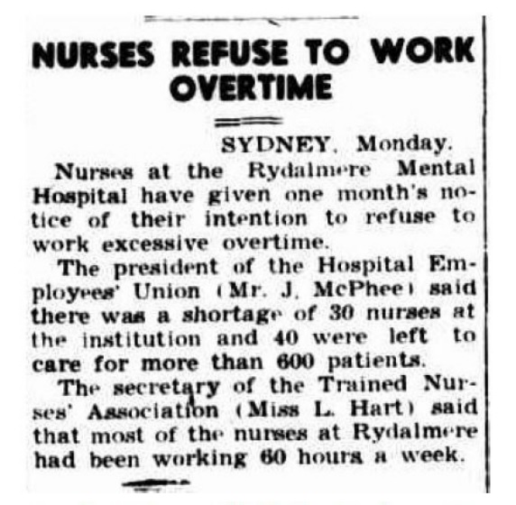 Newspaper article on overtime by nurses