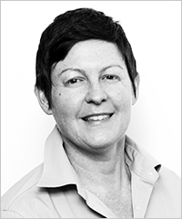 Black and white profile photo of Justine Humphry