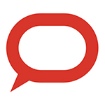 The Conversation logo of a red speech bubble