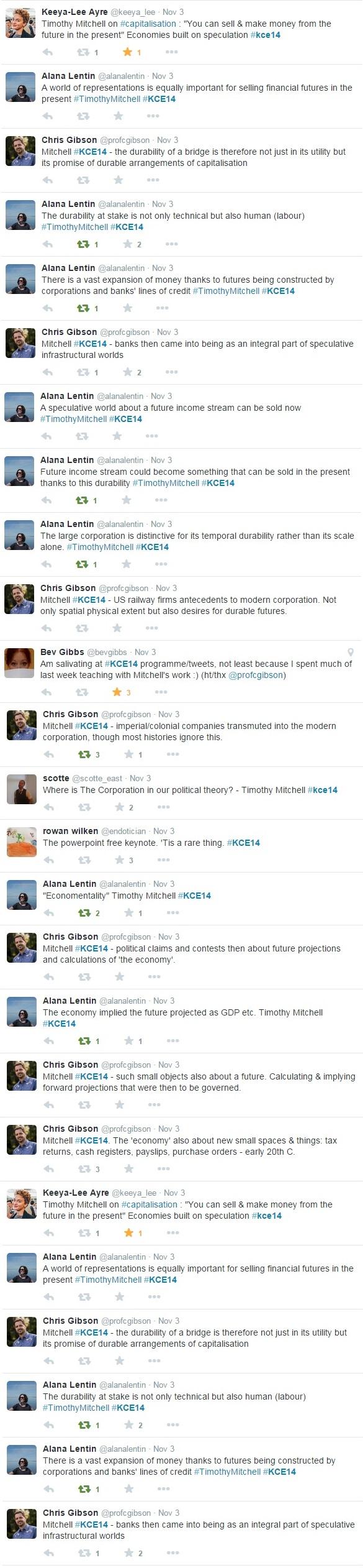 Screen grab of tweets