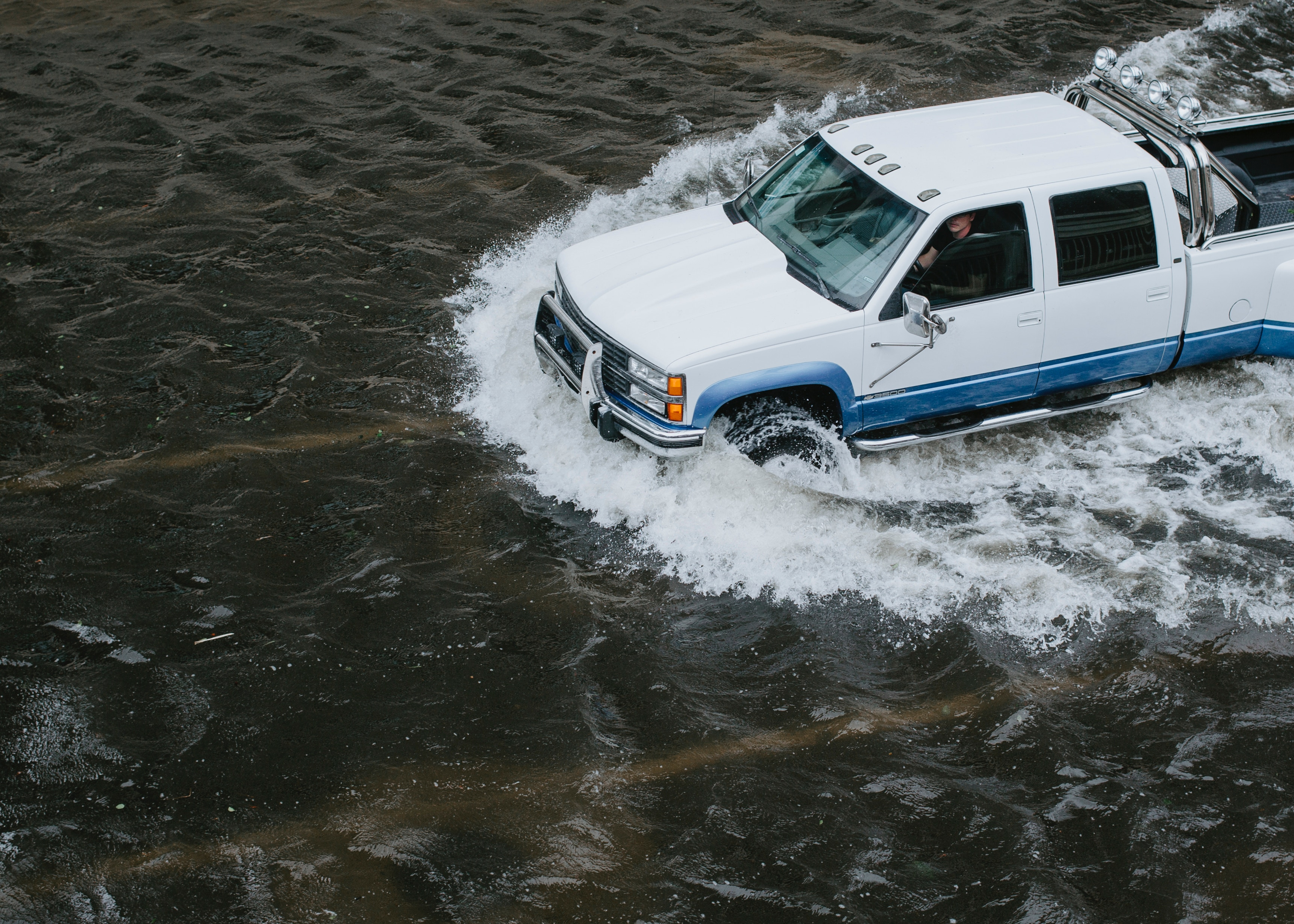 A car in flood waters