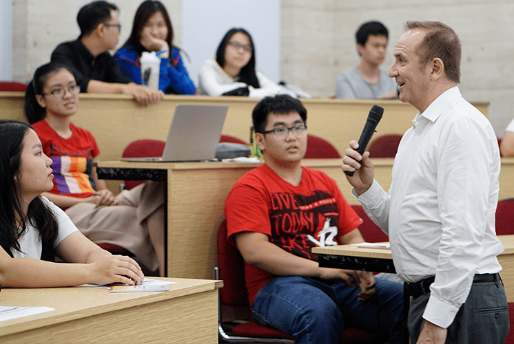 Students and lecturers in class at the Vietnam campus