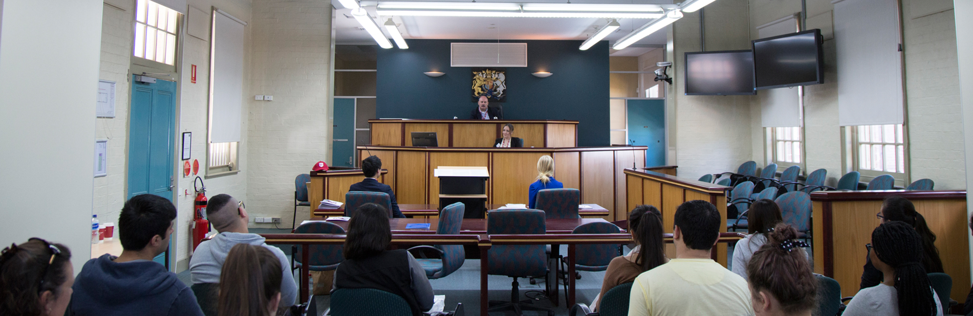 Moot court setting at our Campbelltown and Parramatta campuses